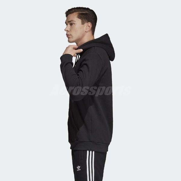 adidas 帽T Originals Trefoil Hoodie 黑白 三葉草 大Logo 男款 長袖上衣 【PUMP306】 DT7964