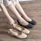 低跟鞋 粗跟鞋 方頭單鞋女英倫學院風百搭職業蝴蝶結粗跟瑪麗珍女鞋韓版女鞋子《小師妹》sm3525
