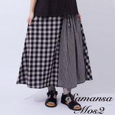 ❖ Summer ❖ 拼接格紋棉麻長裙 (提醒➯SM2僅單一尺寸) - Sm2
