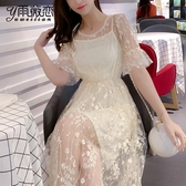 洋裝 春季連身裙新款2020春夏裝女裝小個子仙女裙法式復古赫本兩件套網紗夏