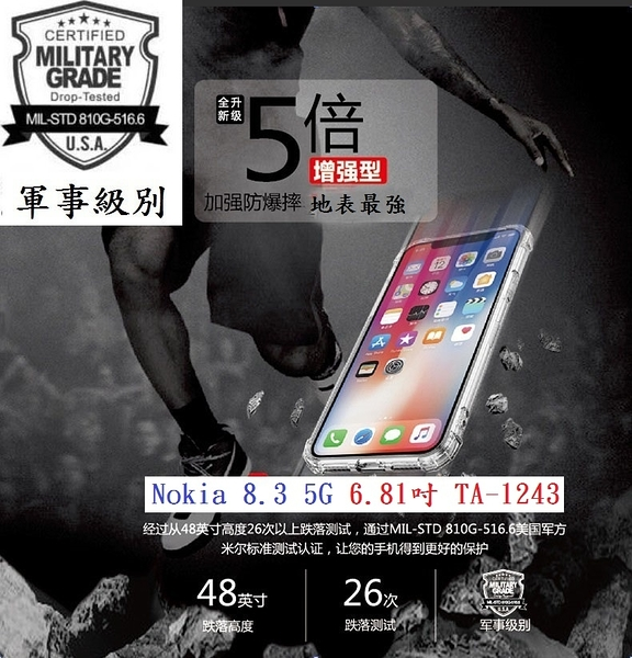 【五倍強化】Nokia 8.3 5G 6.81吋 TA-1243 四角 抗摔TPU套 防摔 透明殼 軟殼