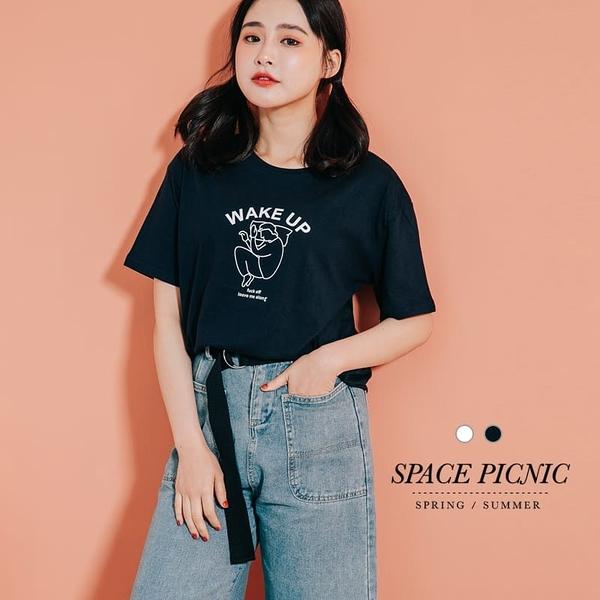 上衣 Space Picnic|WAKE UP 貪睡男孩圖印短袖上衣(預購)【C20042102】