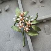 半孔天然淡水珍珠橙花樹葉復古胸針女耳釘套裝【販衣小築】
