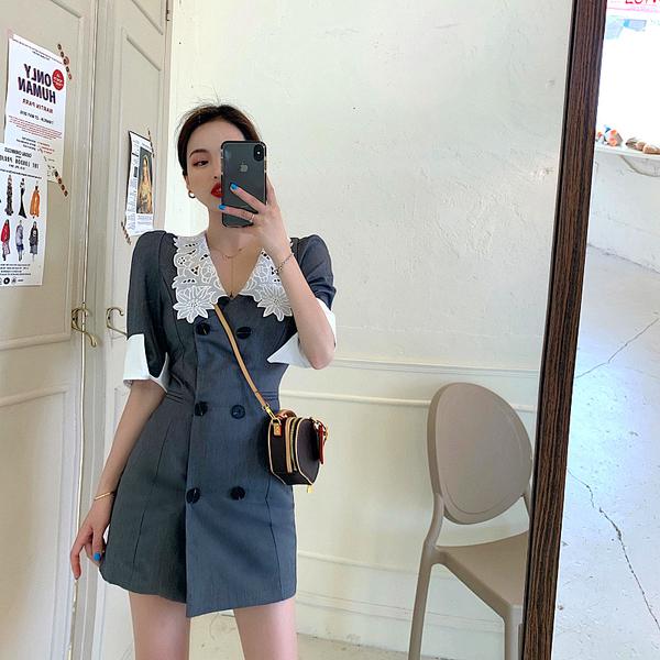 超殺29折 韓國風復古西裝拼接蕾絲領短袖洋裝