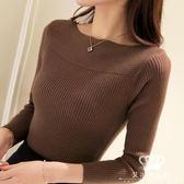 針織衫 一字領春秋女長袖純色短款套頭毛衣