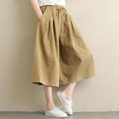 胖妹妹褲子女夏裝2019新款寬鬆大碼文藝純色顯瘦百搭七分闊腿褲裙