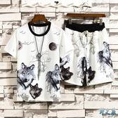 冰絲中國風T恤男短褲大碼運動套裝潮流短袖兩件套夏季新款休閒兩件式褲裝LXY3105【野之旅】