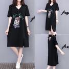 香港大碼女裝寬鬆V領洋裝/連衣裙2021夏新款卡通印花裙子破洞短袖 快速出貨