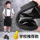 男童黑色皮鞋英倫風中大童小學生禮服鞋軟底...