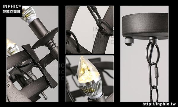 INPHIC- 美式鄉村北歐田園蠟燭客廳餐廳咖啡廳服裝店鐵藝圓形吊燈-B款_S197C