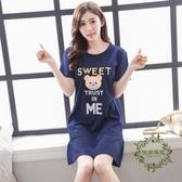 夏季正韓女士棉質短袖睡裙大尺碼公主寬鬆可愛睡衣性感中裙子家居服