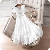 洋裝-露肩優雅氣質鏤空刺繡V領連身裙73sz35【時尚巴黎】