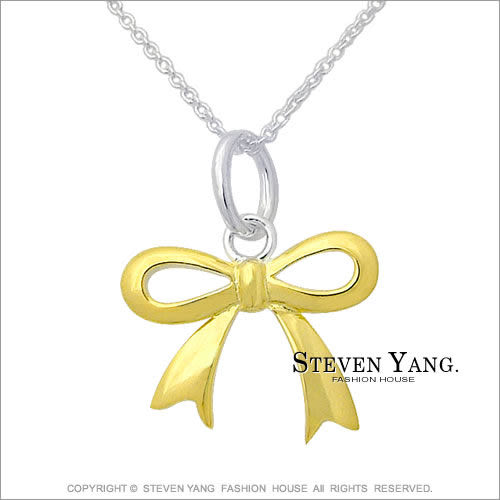 STEVEN YANG 925純銀飾 手工設計款 直鍍銀 蝴蝶結項鍊 金色