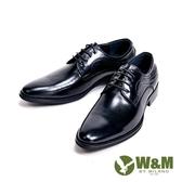 W&M 光感牛皮革 精緻流線型男皮鞋-黑