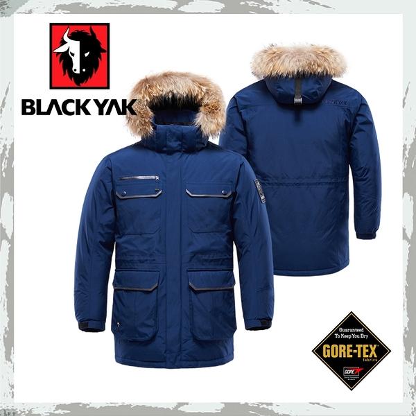 【BLACKYAK 韓國 中性Gore-Tex軍裝連帽羽絨長外套《深藍》】BY162NJ90158/滑雪賞雪/防水外套