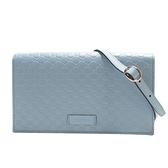 GUCCI 古馳 淺藍色雙G壓紋牛皮斜背包 手拿包 Wallet Shoulder Bag 466507 BRAND OFF