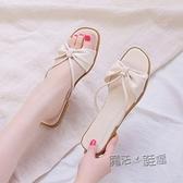涼鞋女仙女風年新款夏拖鞋女ins潮學生外穿百搭一字帶平底鞋 夏季狂歡