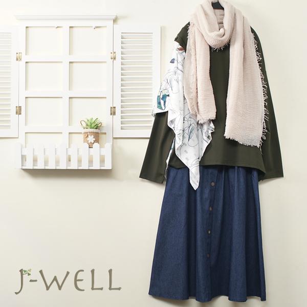 J-WELL 兩穿花布設計款上衣牛仔裙二件組(組合A593 9J1075綠+8J1521深藍)