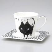 日本製小倉陶器加藤真治咖啡杯附盤餐具黑貓耍酷系列-達可家居