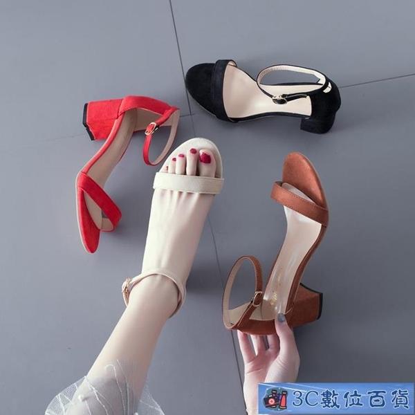 粗跟涼鞋女2020新款夏季百搭中跟仙女風低跟夏天配裙的晚晚高跟鞋 3C數位百貨