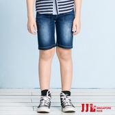JJLKIDS 男童  舒適刷白鬆緊腰牛仔五分褲(牛仔藍)