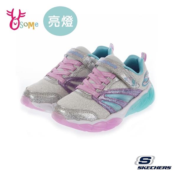 Skechers童鞋 女童電燈鞋 FUSION FLASH 發光鞋 運動鞋 跑步鞋 閃燈 銀蔥 燈鞋 魔鬼氈 U8283#白粉◆奧森