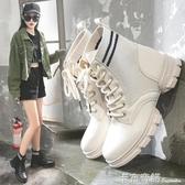 高筒工裝鞋女秋季新款英倫嘻哈女鞋透氣厚底馬丁靴短靴潮鞋子 卡布奇諾