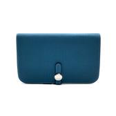 【台中米蘭站】全新品 HERMES Dogon TOGO銀色金屬穿釦手拿長夾(BLUE JEAN藍)
