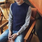 無袖毛衣馬甲男學院風港風正韓日繫復古無袖針織背心外套潮流青年