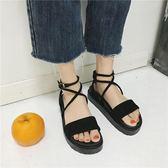 黑五好物節平底涼鞋女學生夏2018新款一字扣百搭韓版平跟交叉綁帶羅馬女鞋子