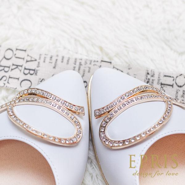 現貨 MIT小中大尺碼平底尖頭鞋推薦 永恆女神 全真皮平底鞋 21-25.5 EPRIS艾佩絲-時尚白色