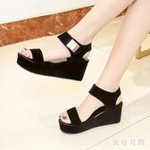 新款夏季涼鞋女韓版時尚厚底坡跟女鞋子學生魔術貼 yu2510『衣好月圓』