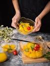 甜品碗 日式金邊玻璃沙拉碗碟套裝家用飯碗湯碗水果盤創意北歐風甜品餐具【快速出貨八折下殺】