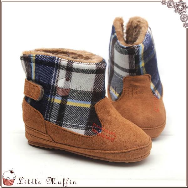 格子毛呢絨面超保暖雪靴 止滑膠底學步鞋 可外出