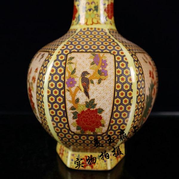 景德鎮瓷器花瓶琺瑯彩描金六方花瓶喜上枝頭花鳥花瓶