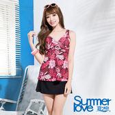 【夏之戀SUMMERLOVE】熱帶棕梠印花三件式泳衣(E13797)
