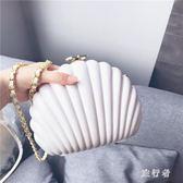 宴會包 復古港風貝殼珍珠白色包單肩斜跨手拿包 BF9298【旅行者】