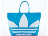 ADIDAS 狂銷熱賣款三片葉LOGO防水大購物袋(藍色) Z20020