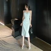 禮服 V領性感吊帶裙女夏新款修身顯瘦中長款白色晚禮服氣質吊帶洋裝