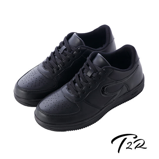 【韓國T2R】皮感素面百搭男款內增高休閒鞋 ↑6cm 黑(5600-0221)