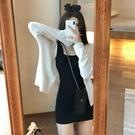 方領洋裝 2021春夏新款冰絲防曬針織衫上衣薄外套女性感方領打底吊帶連身裙 晶彩 99免運