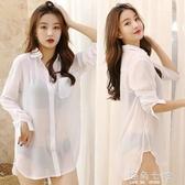 透視雪紡襯衫女長袖中長款上衣2020新款bf性感襯衣寬鬆大碼睡衣裙 雙十二全館免運