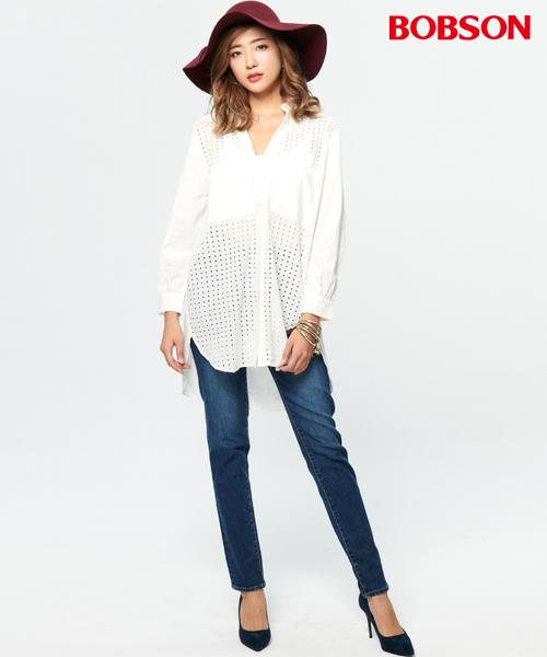 BOBSON 女款洞洞蕾絲長版襯衫(37087-80)