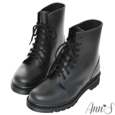 Ann'S腳不濕-馬丁造型綁帶百搭短筒雨靴-黑