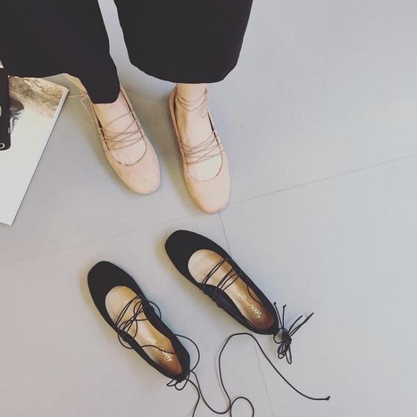 全館83折 韓版春秋季仙女綁帶方頭交叉松緊帶絨面淺口百搭平底芭蕾單鞋女鞋