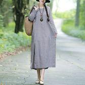 棉麻 小格紋盤釦下開衩長洋裝-大尺碼 獨具衣格