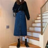 春2020新款網紅ins復古港風中長款洋氣顯瘦開叉牛仔半身裙女150cm 萊俐亞