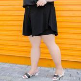 大碼女裝胖mm夏裝闊腿褲裙200斤胖妹妹雪紡短褲04807 樂芙美鞋