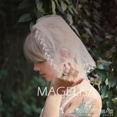 新娘頭紗短款小清新復古單層旅拍婚紗照頭紗頭飾森系婚禮小頭紗 晴天時尚館