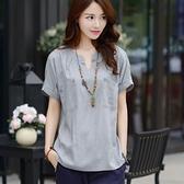 夏季新款大碼女裝韓版休閒短袖棉麻t恤女寬鬆亞麻襯衫上衣潮 秋季新品